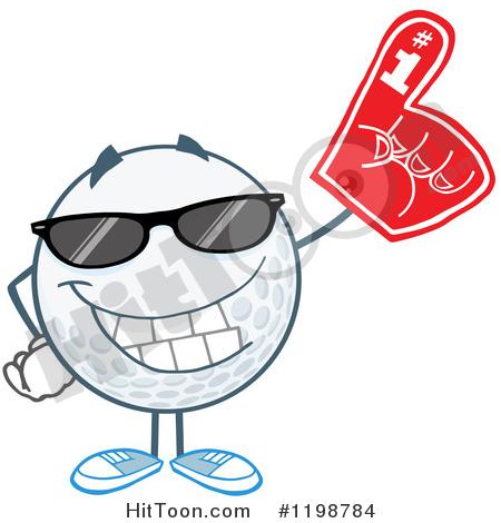 Golf Ball Clipart #1198784: Golf Ball Character Wearing Sunglasses.