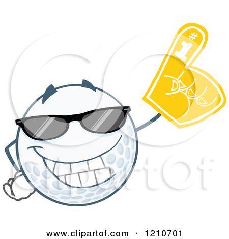 Cartoon of a Cool Golf Ball Mascot Wearing a Foam Finger.