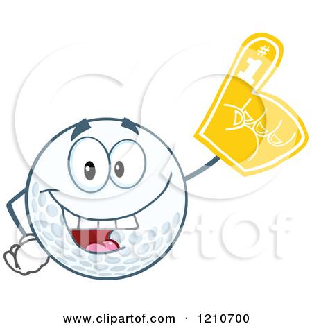 Cartoon of a Golf Ball Character Wearing a Number 1 Foam Finger.