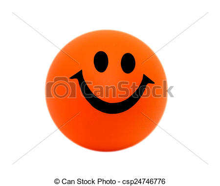 Picture of Orange foam ball with a smile..