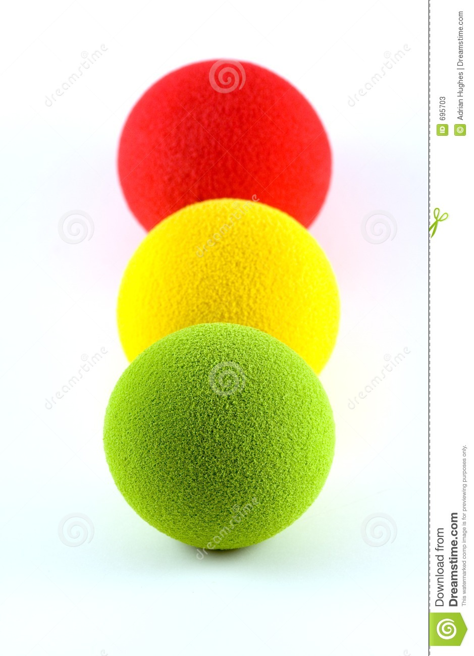 Balls In A Traffic Light Arrangement Stock Photos.