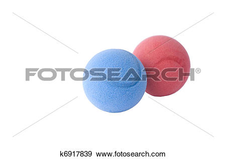 Stock Photograph of Red and blue foam balls k6917839.