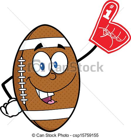 Clipart Vector of Football Ball With Foam Finger.
