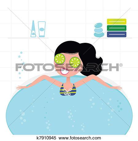 Clipart of Cute retro woman relaxing in whirlpool foam bath.