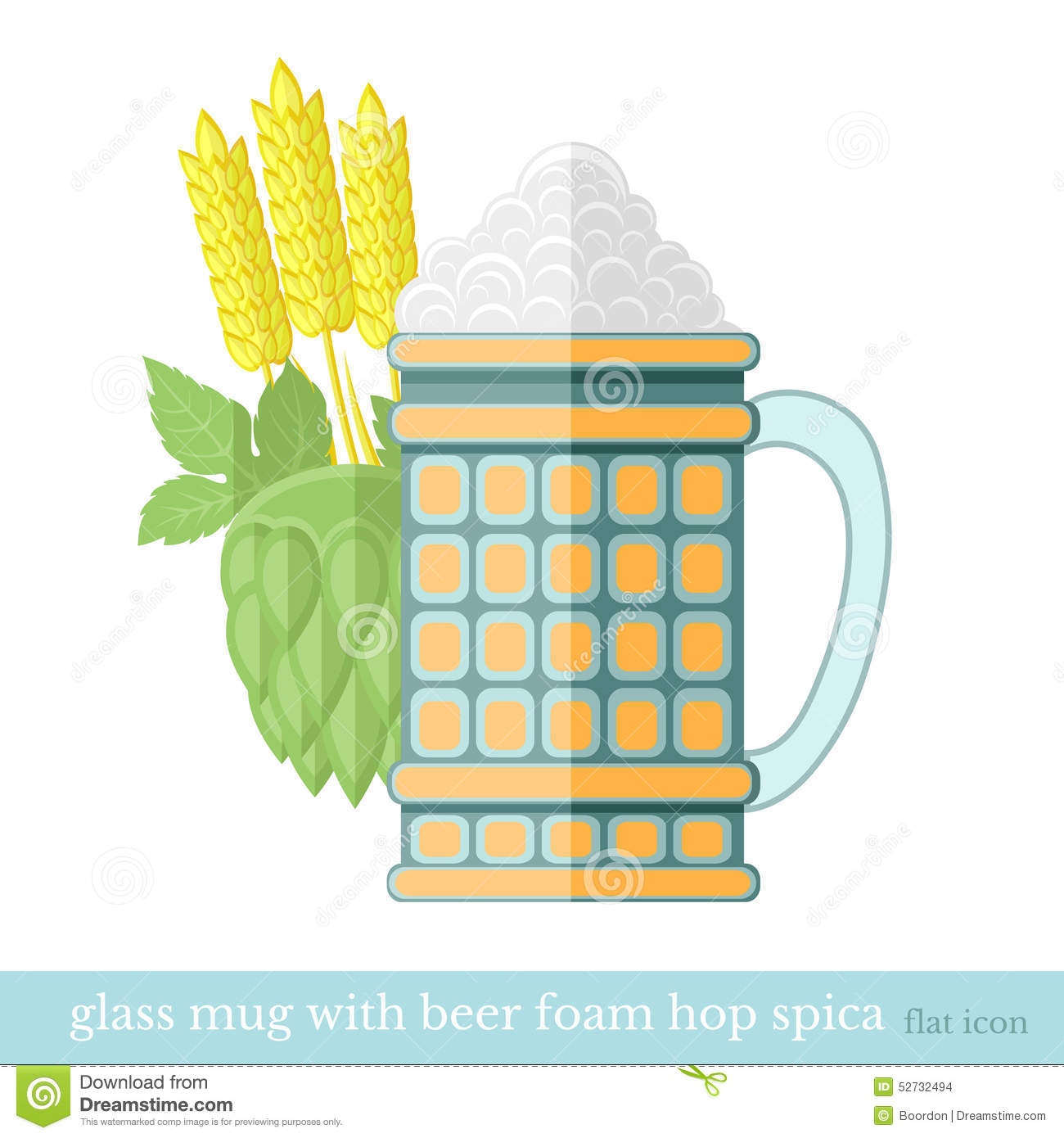 Flat Glass Mug Of Beer With Foam Stock Vector.