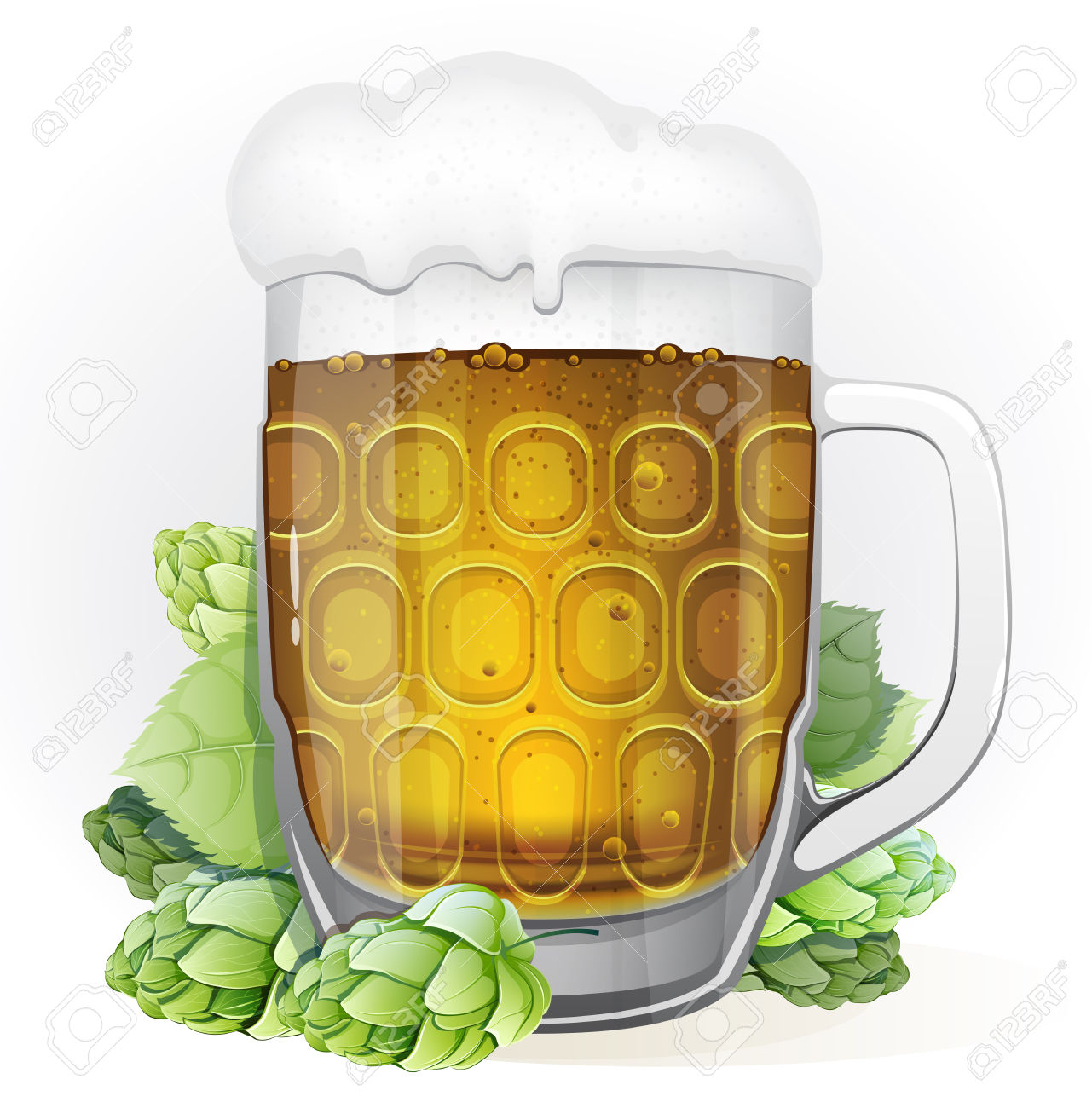 Mug Of Lager Beer With A Cap Of Foam And Green Hop Cones With.