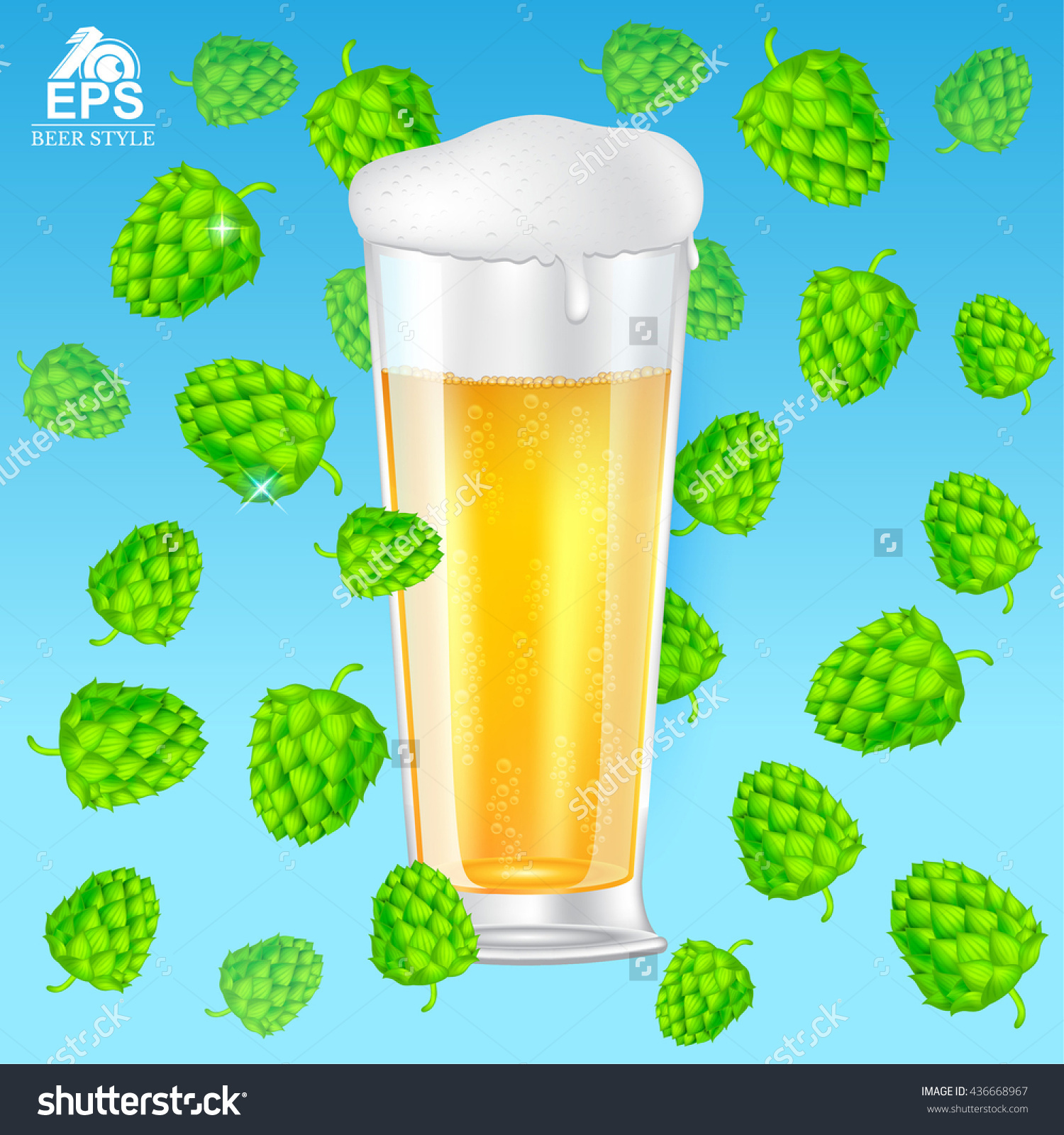 Realistic Mock Up Glass Of Beer With Foam Among Flying Hop Cones.