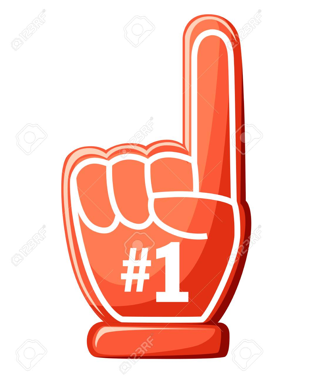 Number one glove. Red foam finger with 1. Vector illustration...