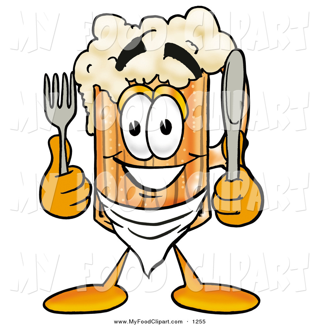 Food Clip Art of a Foaming Beer Mug Mascot Cartoon Character.
