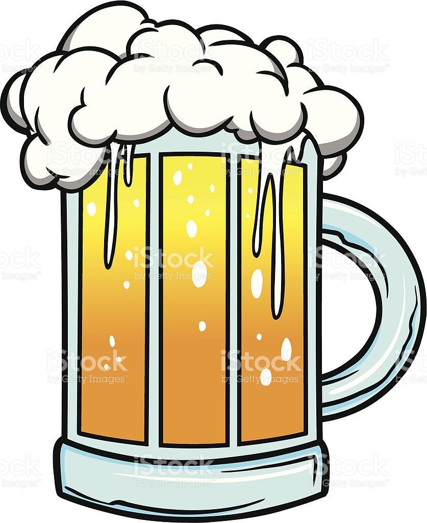 Cartoon Drawing Of Foaming Mug Of Beer stock vector art 165791185.