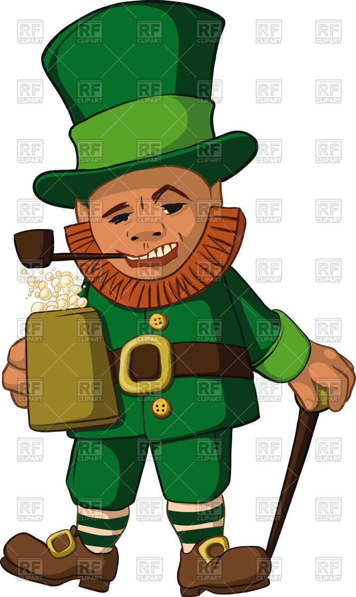 Leprechaun with a mug of foamy beer in top hat with a walking.