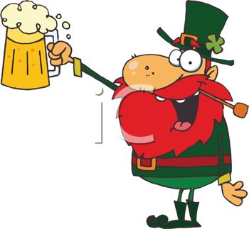 Picture of a Leprechaun Toasting With a Foamy Beer In a Mug In a.