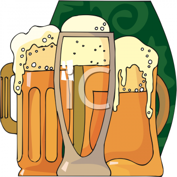 St. Patrick's Day Clip Art of Mugs of Foamy Beer.