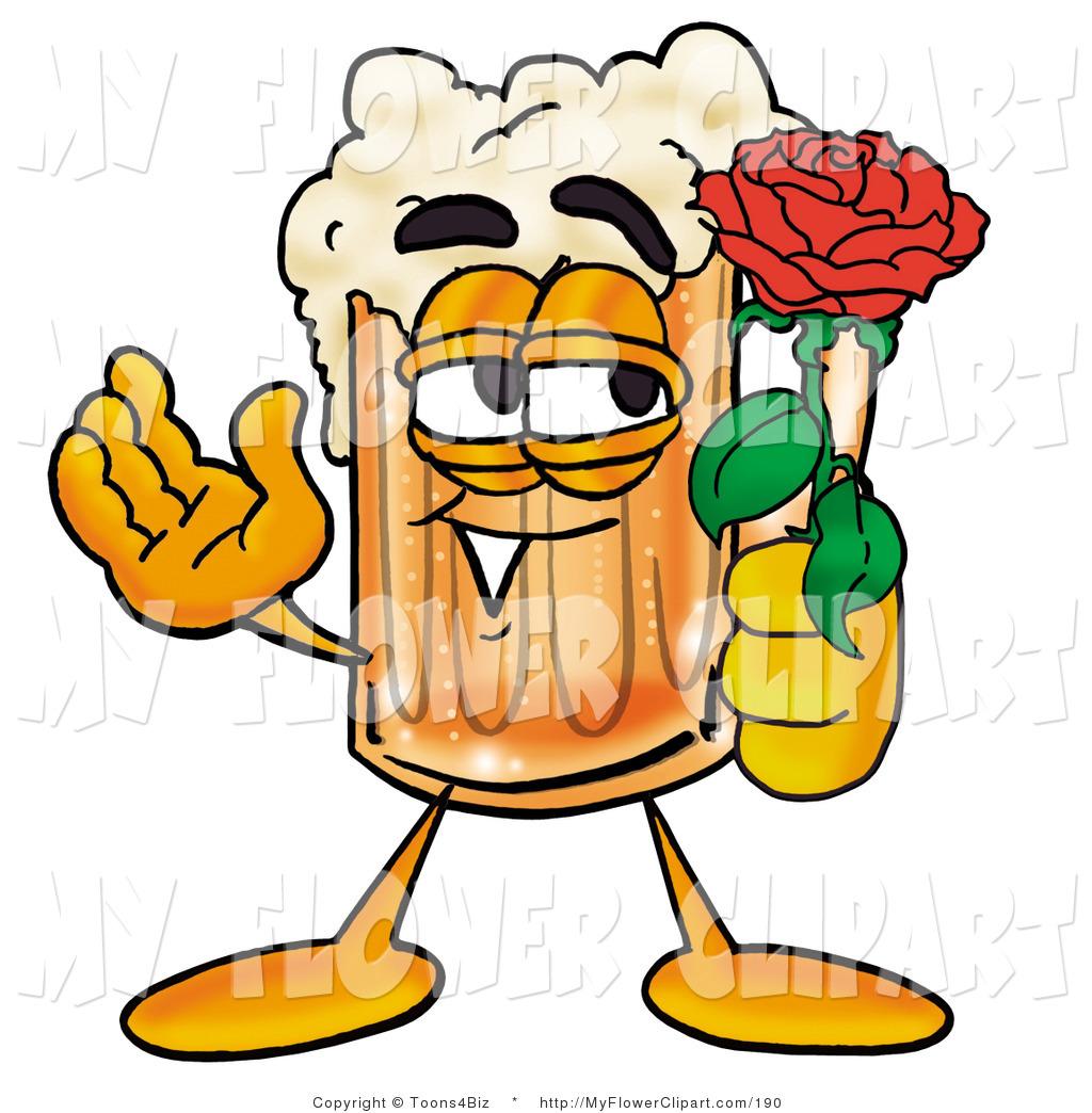 Clip Art of a Foamy Beer Mug Mascot Cartoon Character Holding a.