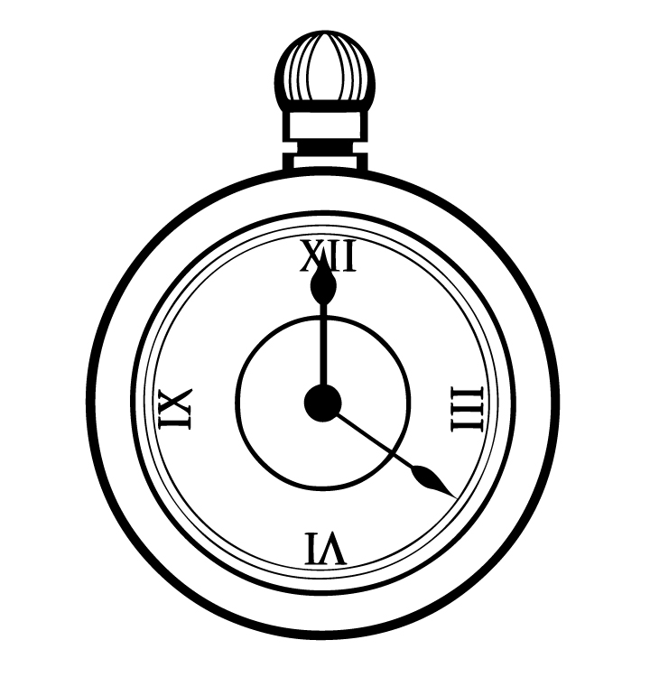 Pocket watch clipart black and white.