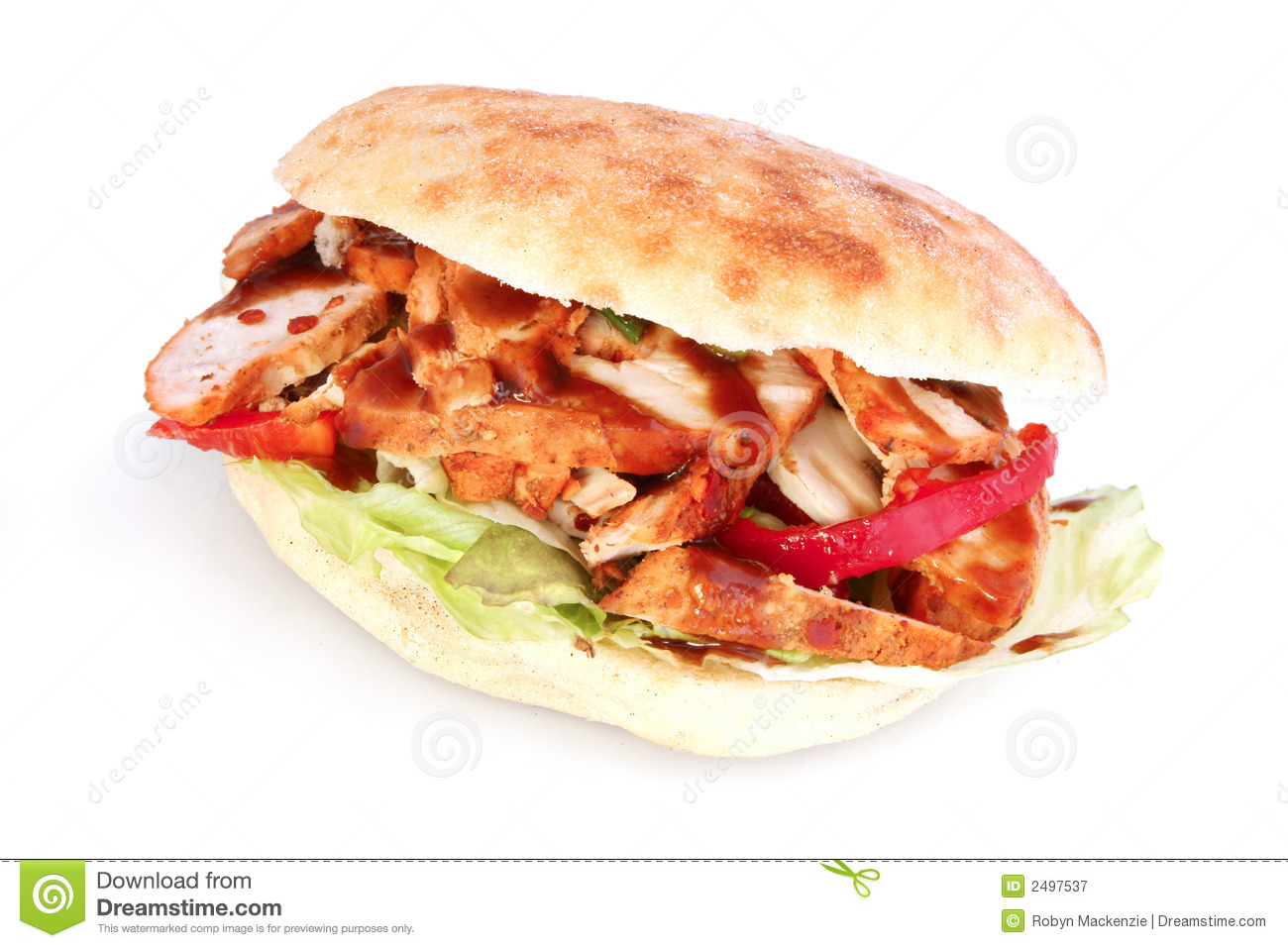 Chicken Focaccia Royalty Free Stock Photography.