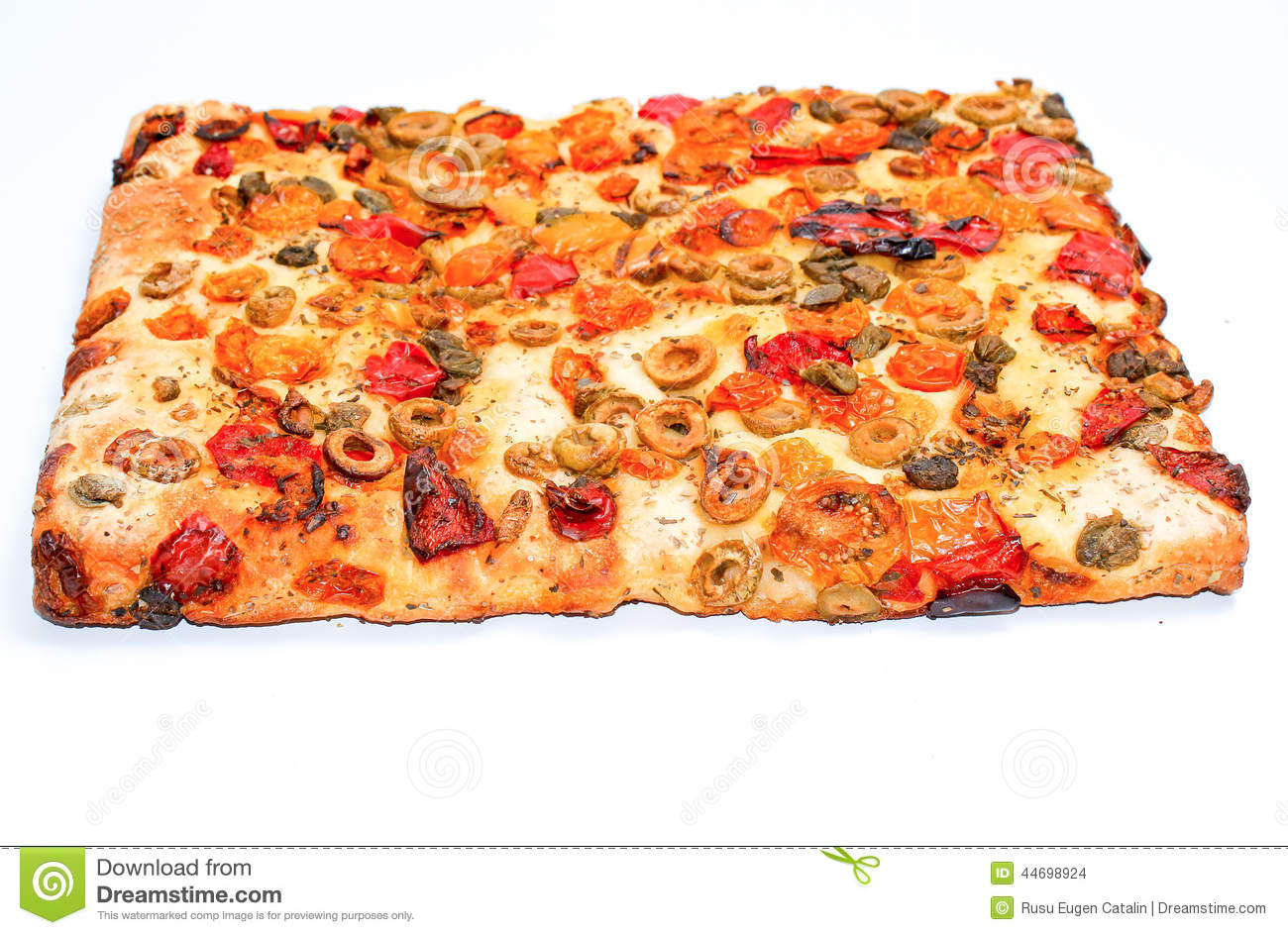 Focaccia Square Pizza Slice Isolated On White Background.