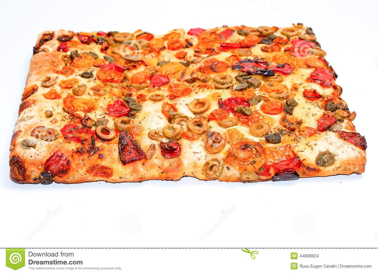 Focaccia Square Pizza Slice Isolated On White Background.