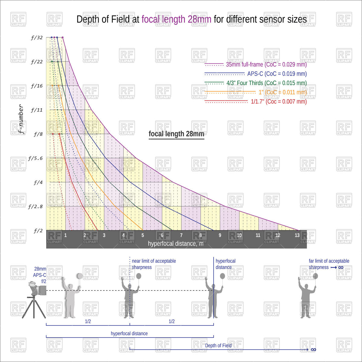 Depth of field at focal length scheme Vector Image #87415.