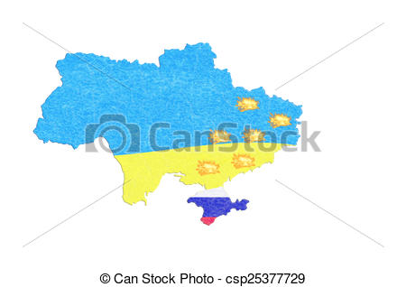 Clip Art of Map Ukraine map with small fires..