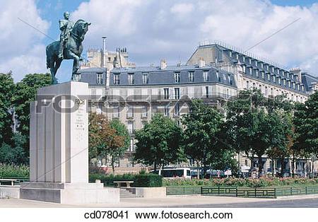 Stock Photography of Marshal Ferdinand Foch statue at Trocad?ro.