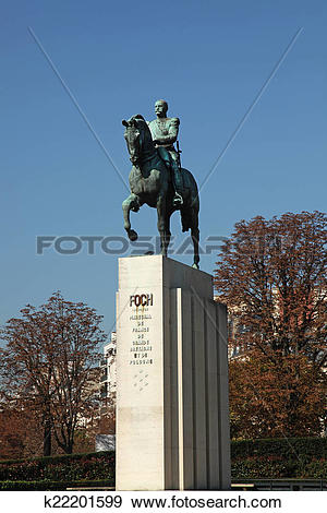 Stock Photograph of Equestrian Statue Ferdinand Foch k22201599.