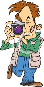 Man Focusing His Camera Clipart Image.