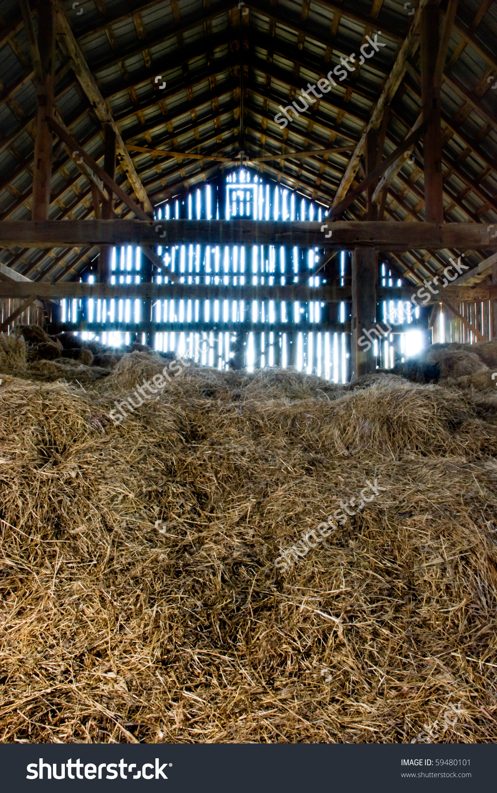 Old Wooden Barn Full Old Hay Stock Photo 59480101.