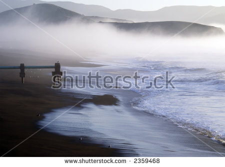 A Fog Bank Forms On The Ocean Near Pacifica'S Pier. Stock Photo.