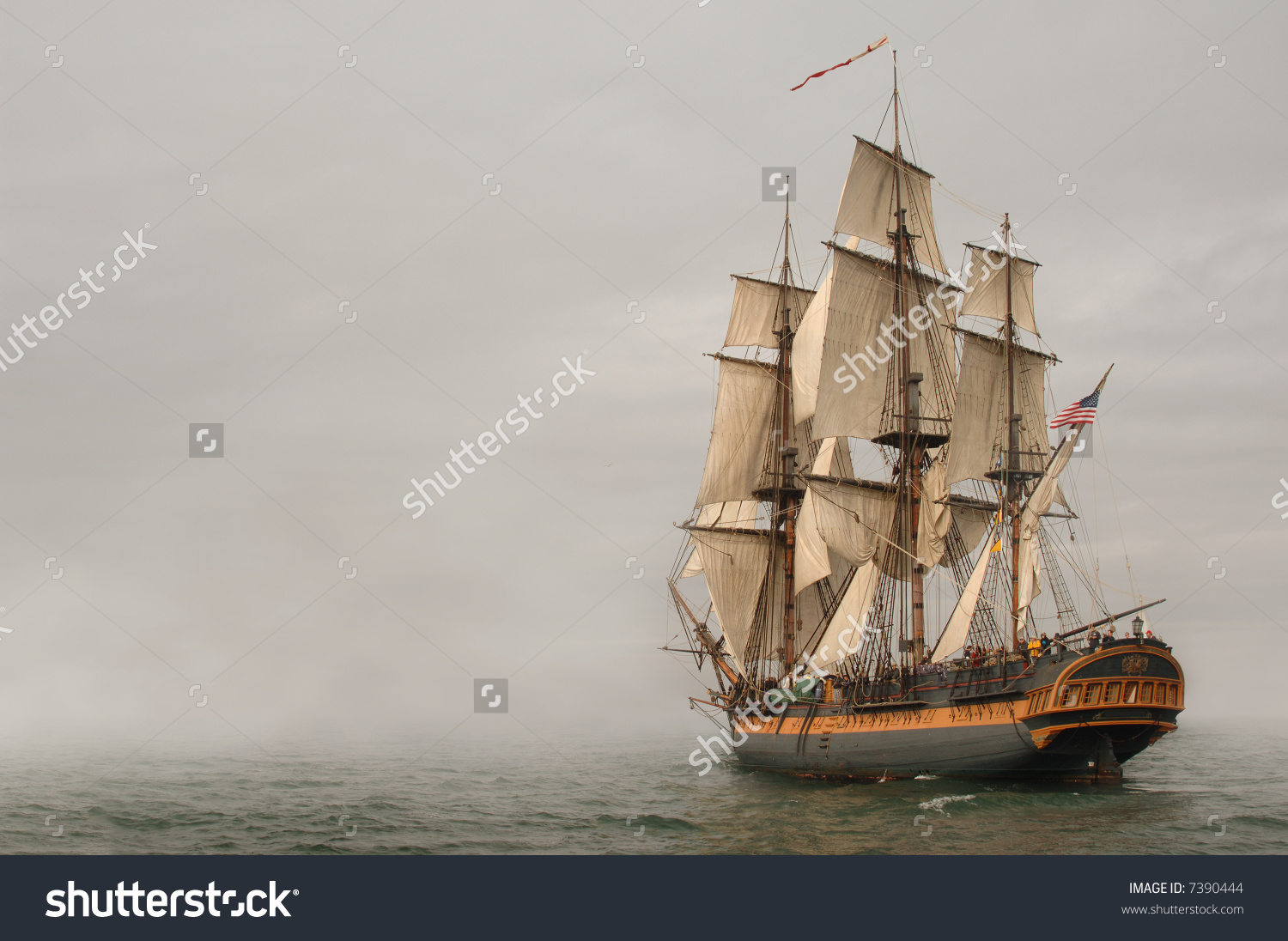 Vintage Frigate Sailing Into Fog Bank Stock Photo 7390444.