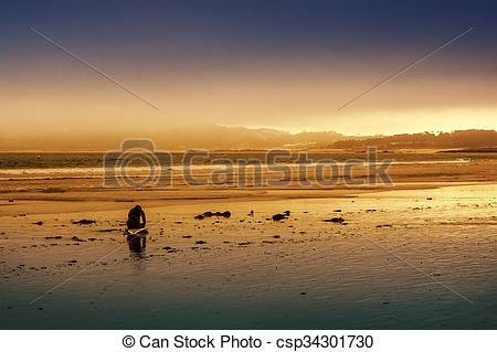Stock Photos of Fog over Lanzada beach.