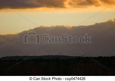 Stock Image of Sunset Fog Bank.