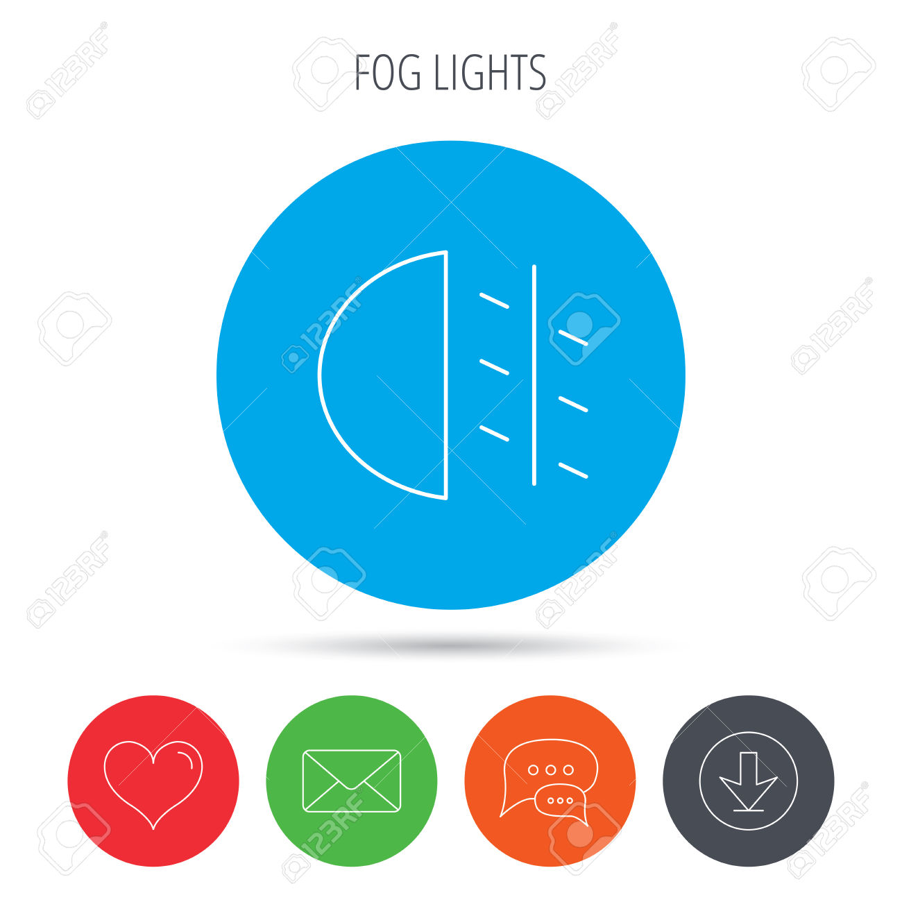 Fog Lights Icon. Car Beam Sign. Mail, Download And Speech Bubble.