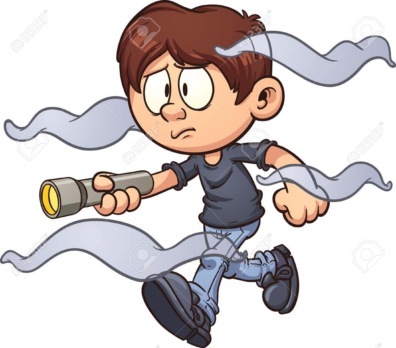 Scared cartoon boy with flashlight walking in the fog. Vector...