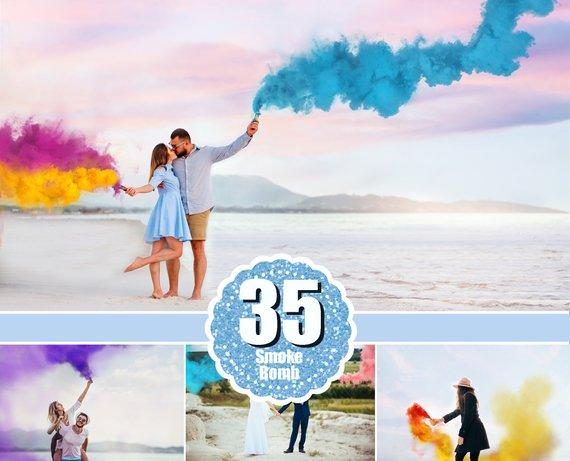 35 Smoke Bomb Overlays, Colorful Smoke fog, photo overlays, Photoshop  overlay, clip art, realistic, real, magic, colorscape, png.