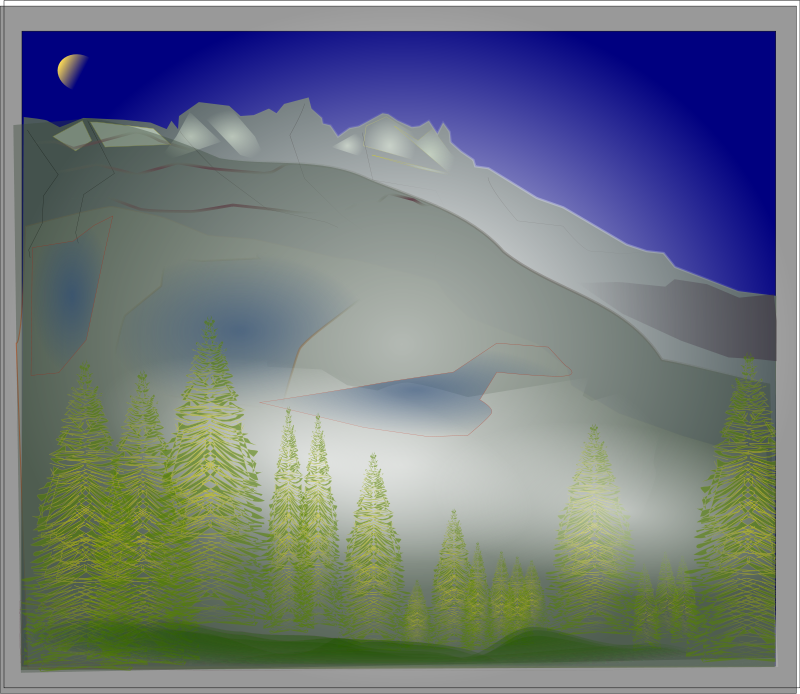 Free Clipart: Fog between Forest and Peaks.