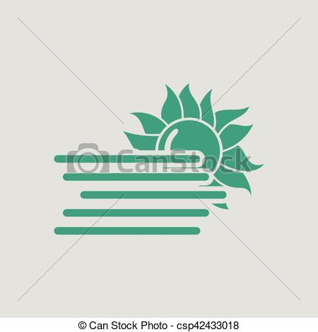 Vector Clip Art of Fog icon. Gray background with green. Vector.