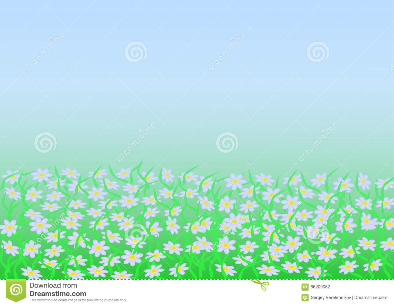 Background Of Chamomile In The Fog Stock Vector.