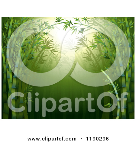 Cartoon of a Lush Green Bamboo Forest Background with Sunshine and.