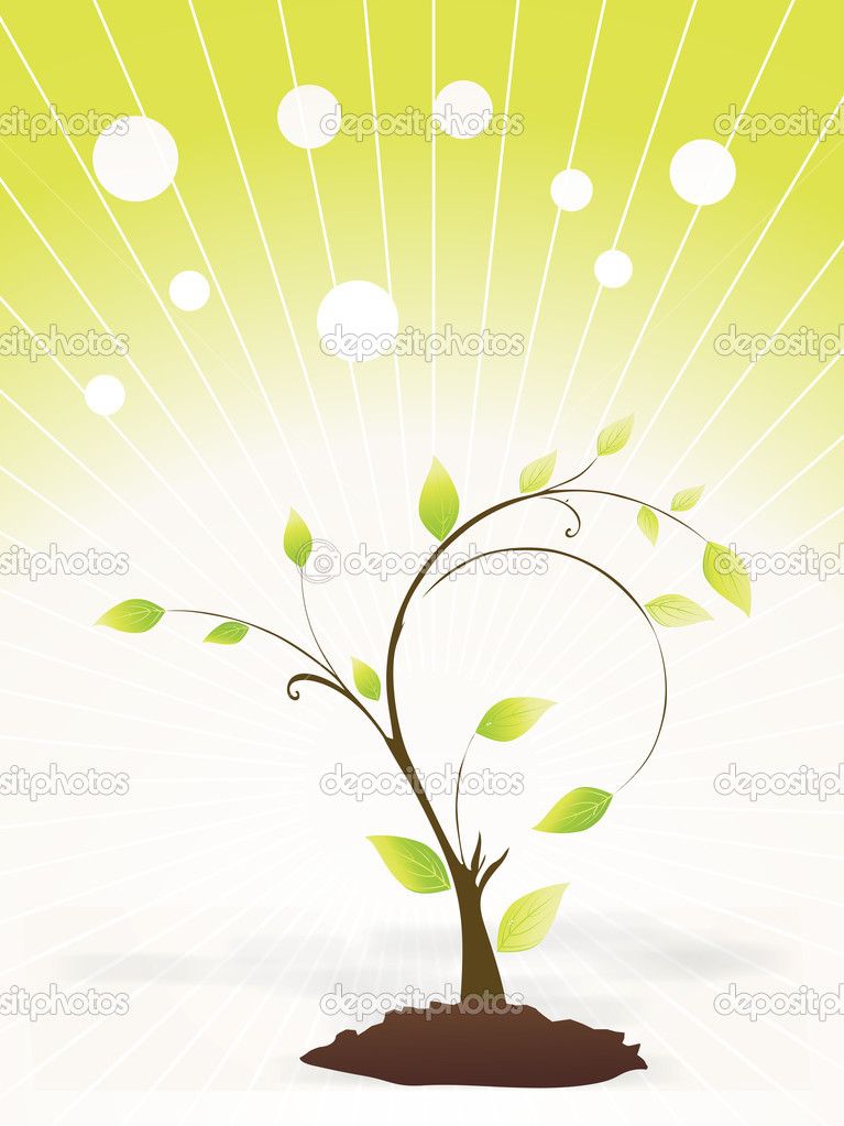 Little green plant with fog, vector — Stock Vector.