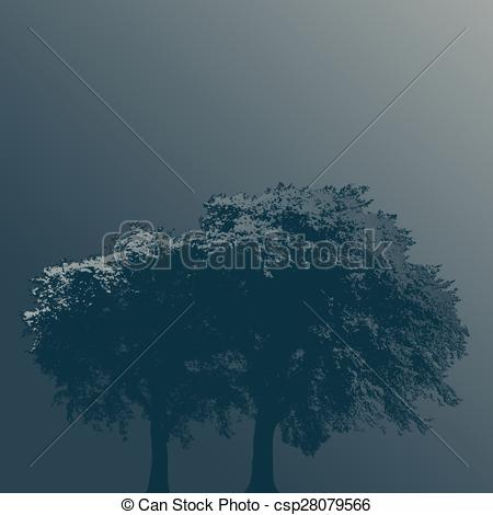 Clip Art Vector of Two Trees in Fog on a Plain Background.