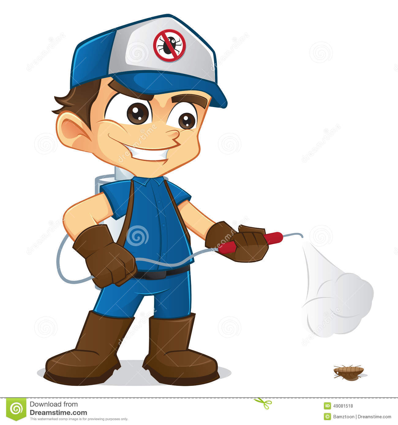 Exterminator Spraying Pest Stock Vector.