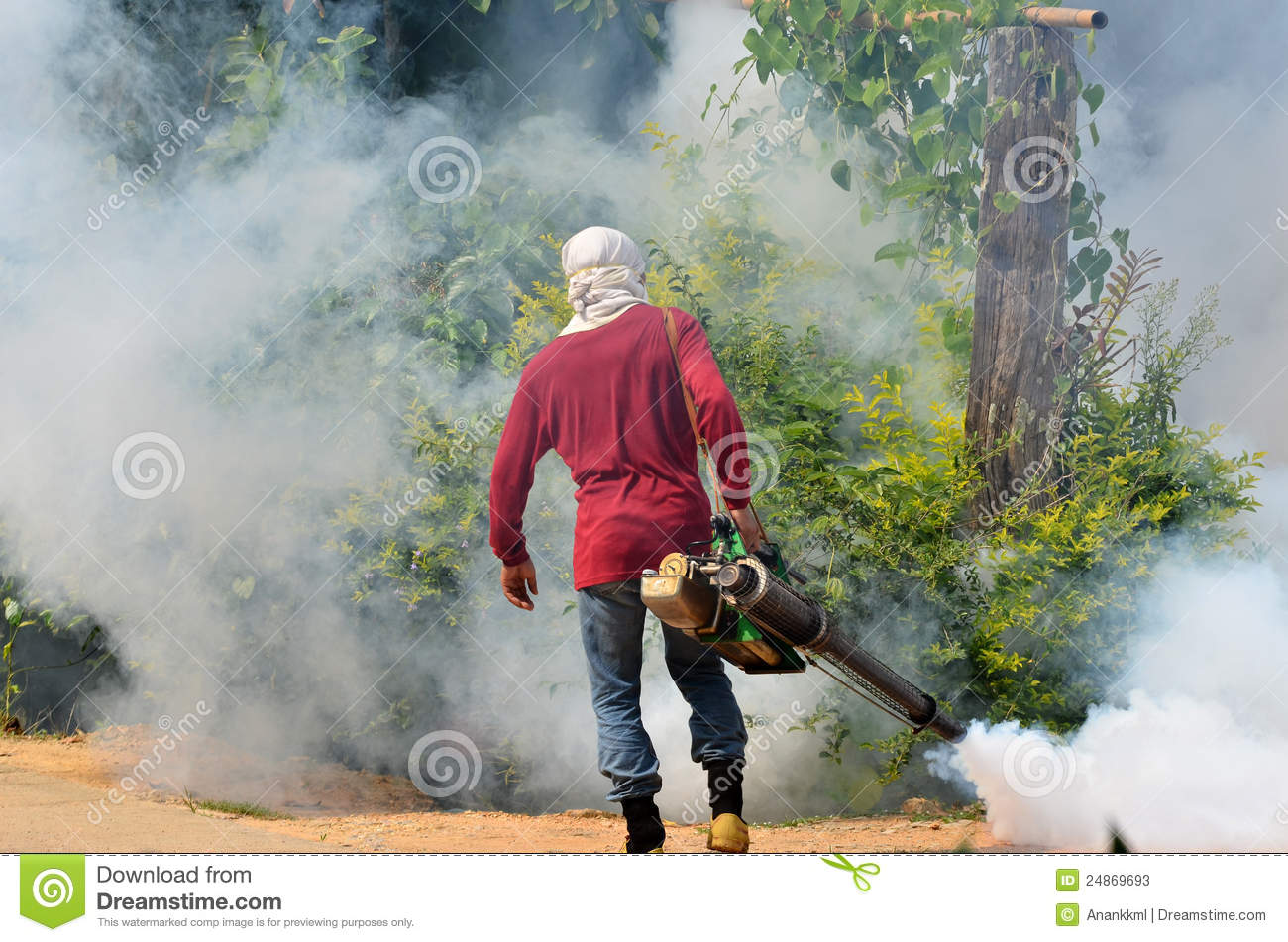 Fogging To Prevent Spread Of Dengue Fever Stock Photos.