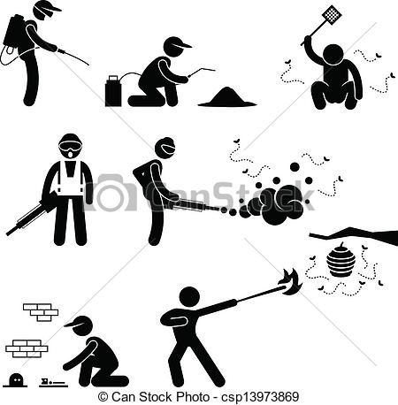 Clip Art Vector of People Exterminator Pest Control.