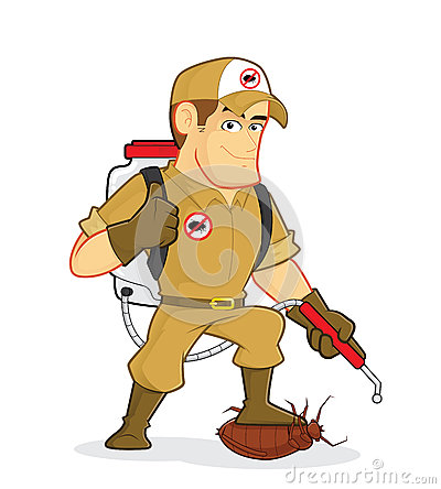 Exterminator Or Pest Control Stock Vector.