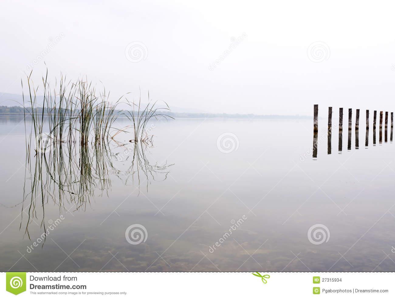 Foggy Day At Lake Balaton,Hungary Stock Images.