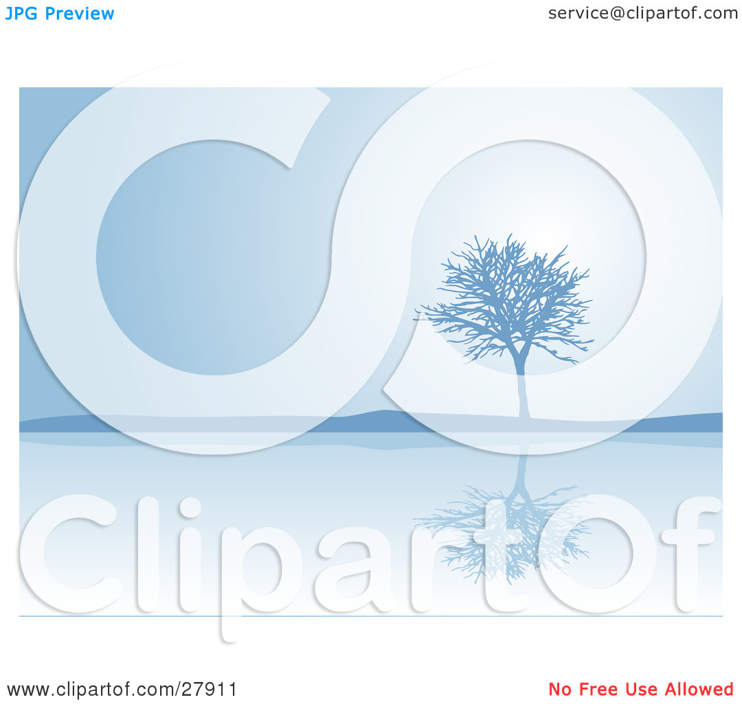 Clipart Illustration of a Bare Tree Reflecting On Calm Waters On A.