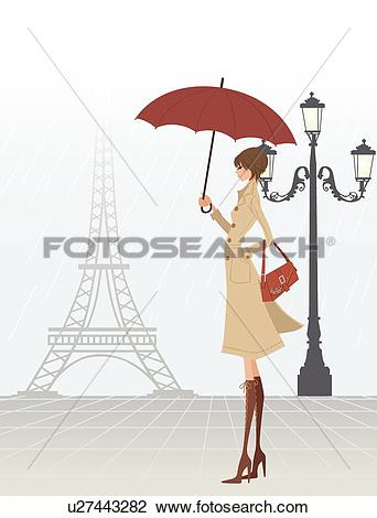 Clip Art of Foggy Day in Paris u27443282.