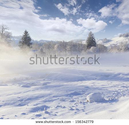 Beautiful Winter Landscape In The Mountain Village Foggy Morning.
