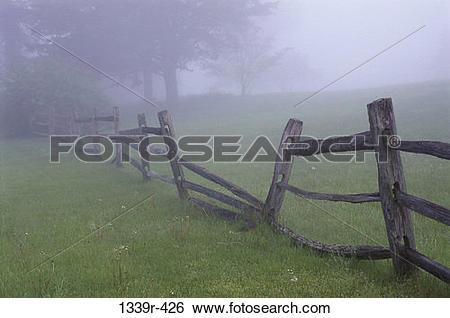 Stock Images of Field, fence, fog, morning, rural, mist, falling.